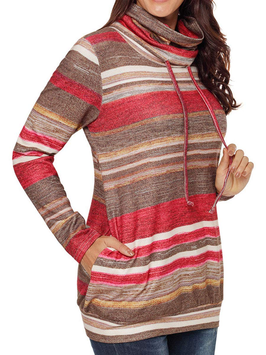 Bodycon4U Womens Striped Cowl Neck Drawstring Long Sleeve Pullover Sweatshirt Sweater Pockets Red XL by Bodycon4U (Image #2)