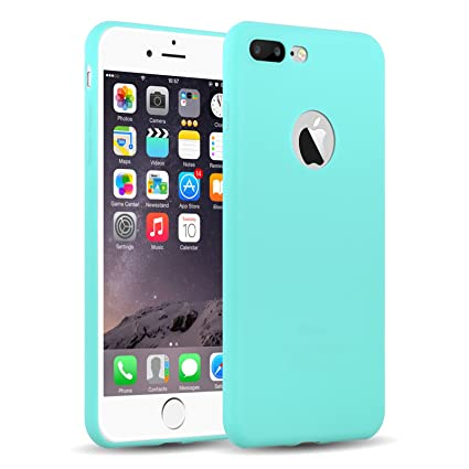iPhone 8 Plus Case, iPhone 7 Plus Case, JAMMYLIZARD Ultra Slim Silicone Jelly Rubber Back Cover, Turquoise