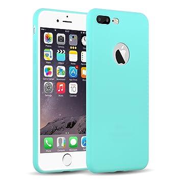 Funda iPhone 8 Plus, iPhone 7 Plus Case, JAMMYLIZARD Carcasa TPU Ultra Fina [ Jelly Case ] De Goma Silicona Back Cover, Turquesa