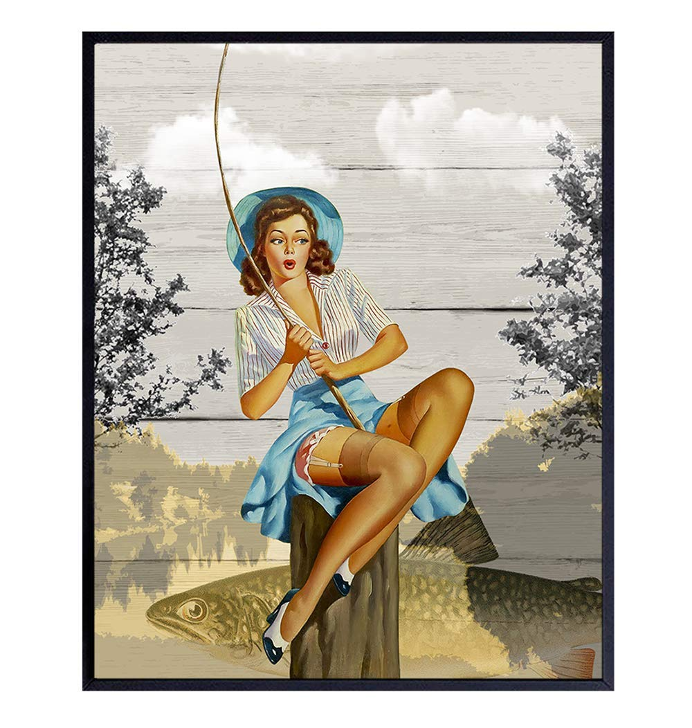 Rustic Fishing Pinup Girl Art Print - Retro Vintage 1950s Wall Art Poster - Shabby Chic Home Decor for Beach or Lake House, Den, Man Cave - Gift for Fisherman, 8x10 Photo Unframed