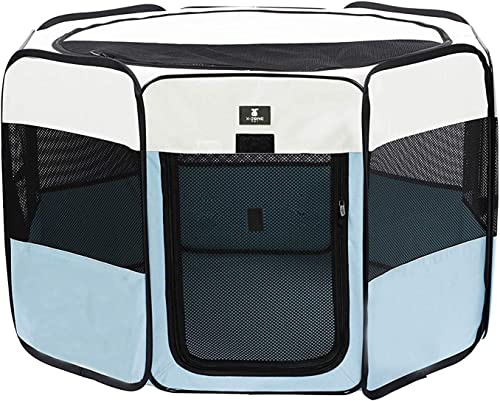 X-ZONE PET Portable Foldable Pet Dog Cat Playpen Crates Kennel Premium 600D Oxford Cloth,Removable Zipper Top, Indoor and Outdoor Use