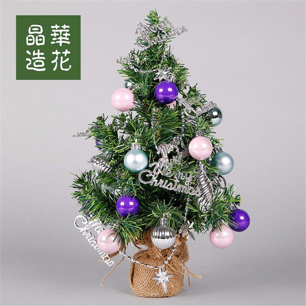 33cm Christmas Tree Set Christmas DIY Decorator Counter Desktop Mini Mini Christmas Wreath,33CM (Pink purple)