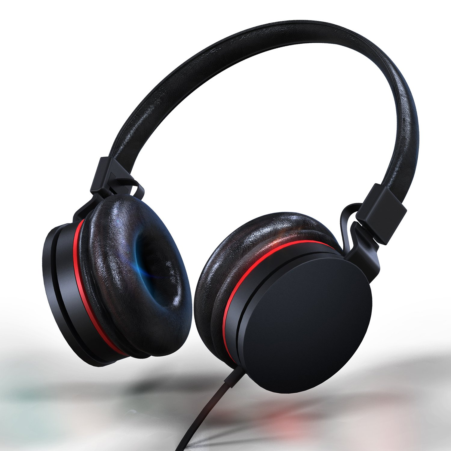 Over-Ear Wired Headphones | Lightweight Adjustable Foldable Headset with Microphone and Volume Control Hi-Fi Stereo Leather Earphones for iPad iPhone Smartphones Laptop Computer PC Mp3/4 (Black/Red)