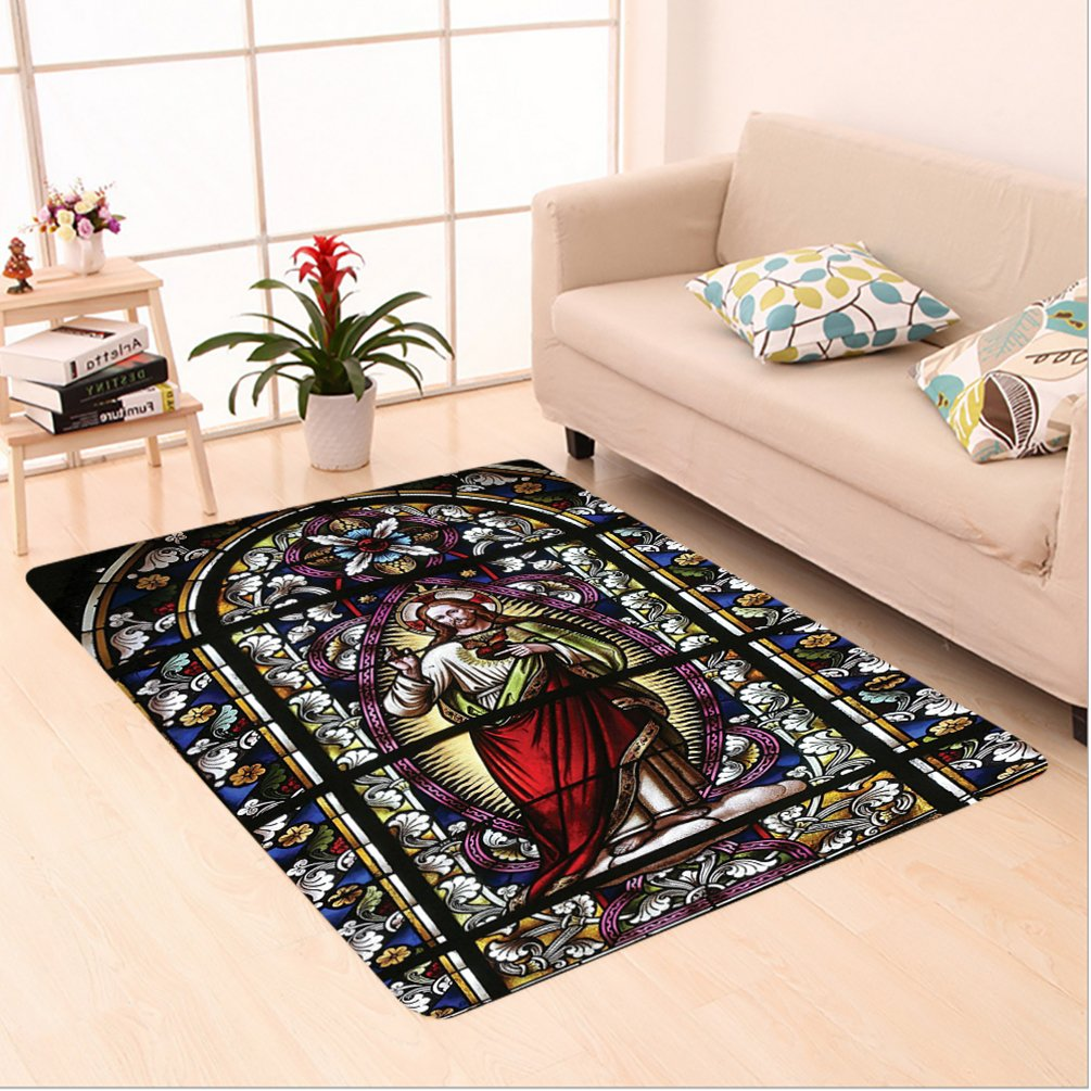 Nalahome Custom carpet tholic Gifts Believe Art Christian Church Cathedral Window View Silky Satin Red Black White Blue area rugs for Living Dining Room Bedroom Hallway Office Carpet (6' X 9') by Nalahome