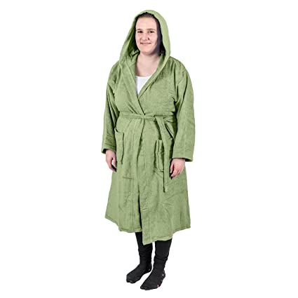 Homescapes Adults Green Dressing Gown 100% Egyptian Cotton Terry Towelling  Fern Green Bathrobe with Hood 1e1f8b668