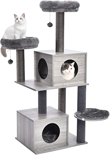 PAWZ Road 55 Inches Cat Tree Modern Cat Tower Featuring 2 Super Large Condos, Sturdy Scratching Posts, and Removable Soft Perches
