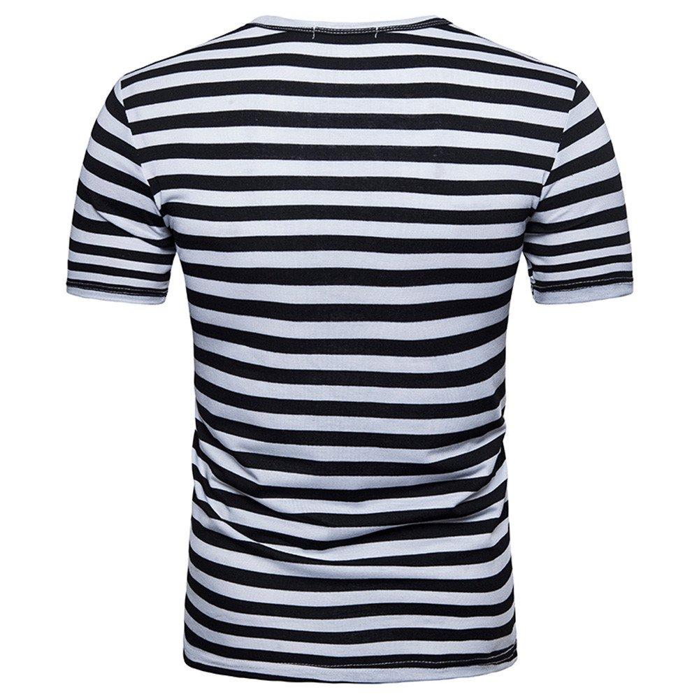 JERFER Maglietta Uomo T-Shirt Girocollo A Girocollo A Righe Casual Estiva