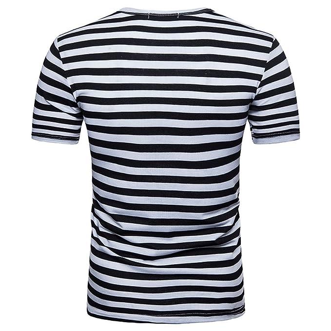 Cebbay Camiseta Rayas Hombre Moda Cuello Redondo a Rayas Blanco y ...