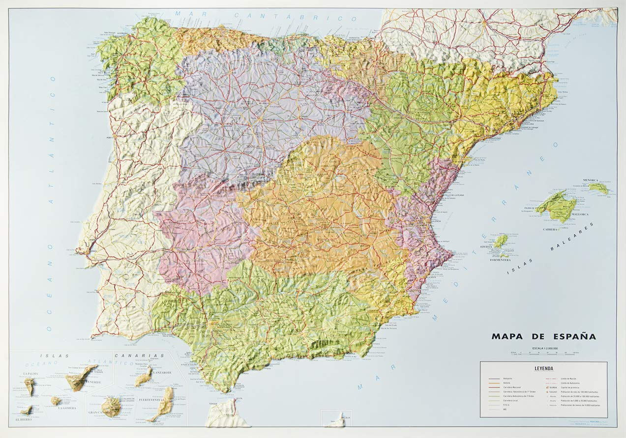 Mapa en relieve España político: Escala 1:2.000.000: Amazon.es: All 3D Form S. L.: Libros