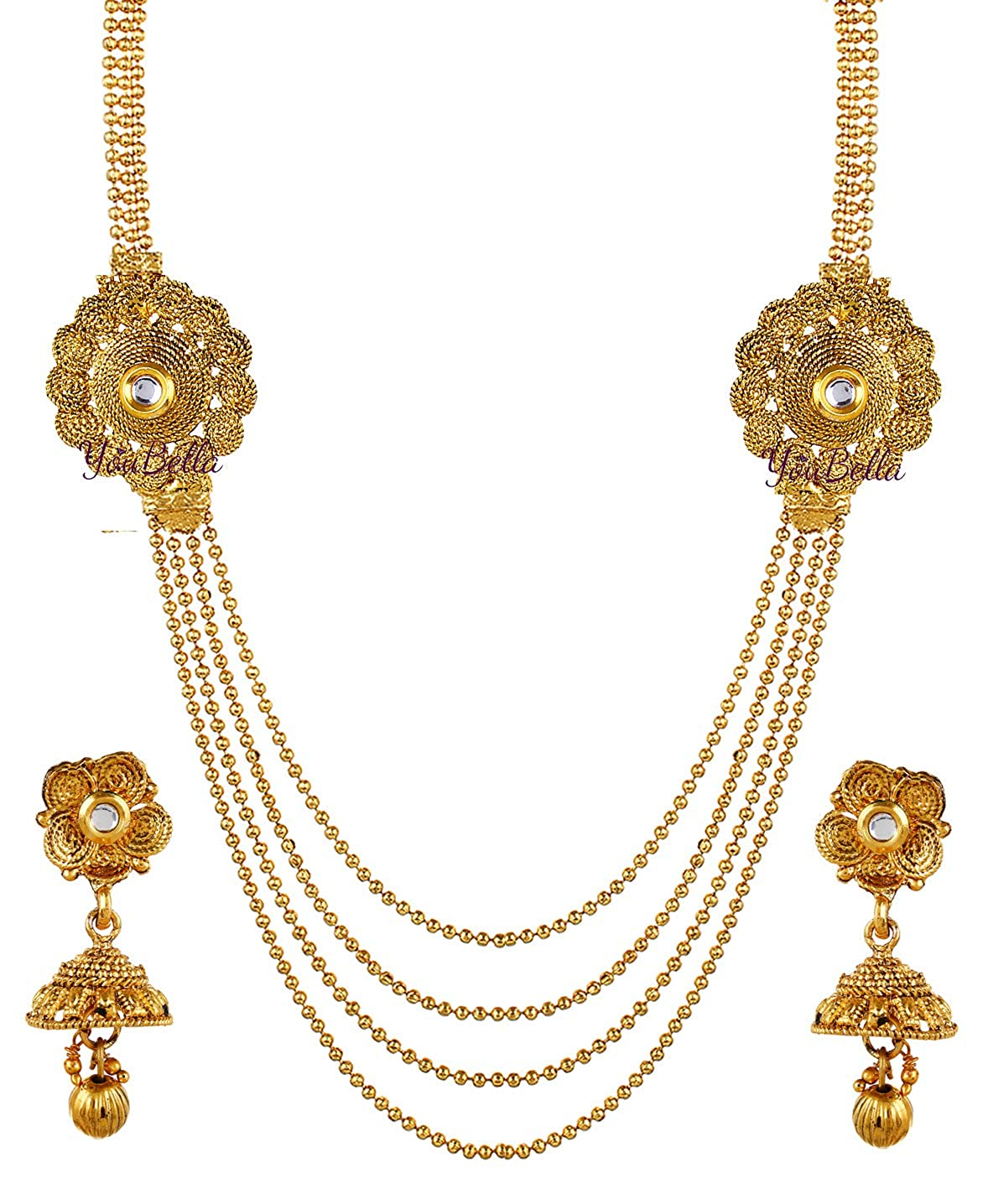 a90aabf244a9f YouBella Latest Traditional Jewellery Gold Plated Jewellery Set for Women  (Golden)(YBNK_5330B)