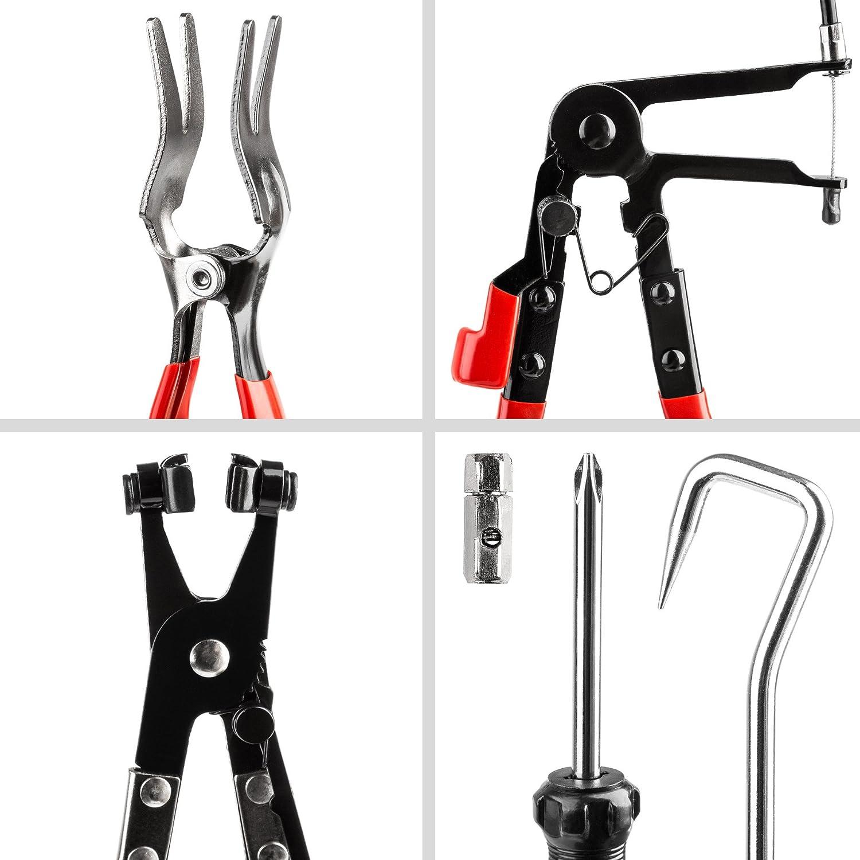 coffret TecTake Pinces pour colliers de serrage r/éparation outil 9 pi/èces kit