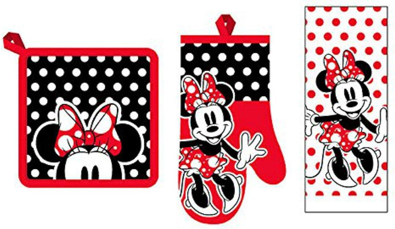 Disney 3 Piece Kitchen Set Minnie Mouse Rock The Dots Towel