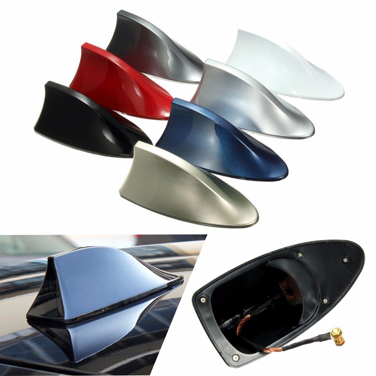 GOZAR Abs In Stile Tetto In Plastica Shark Pinna Antenna Segnale Radio Antenne Universial Per La Maggior Parte Delle Auto-Blu