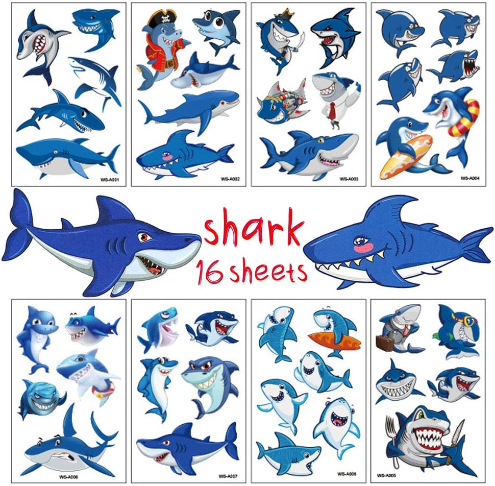 Shark Tattoos for Kids Birthday Party Supplies Temporary Tattoos Shark Party Favors 16 Sheets