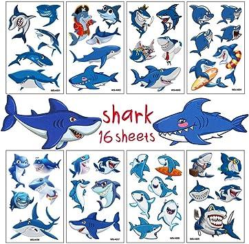 Amazon.com: Tatuajes de tiburón para fiestas de cumpleaños ...