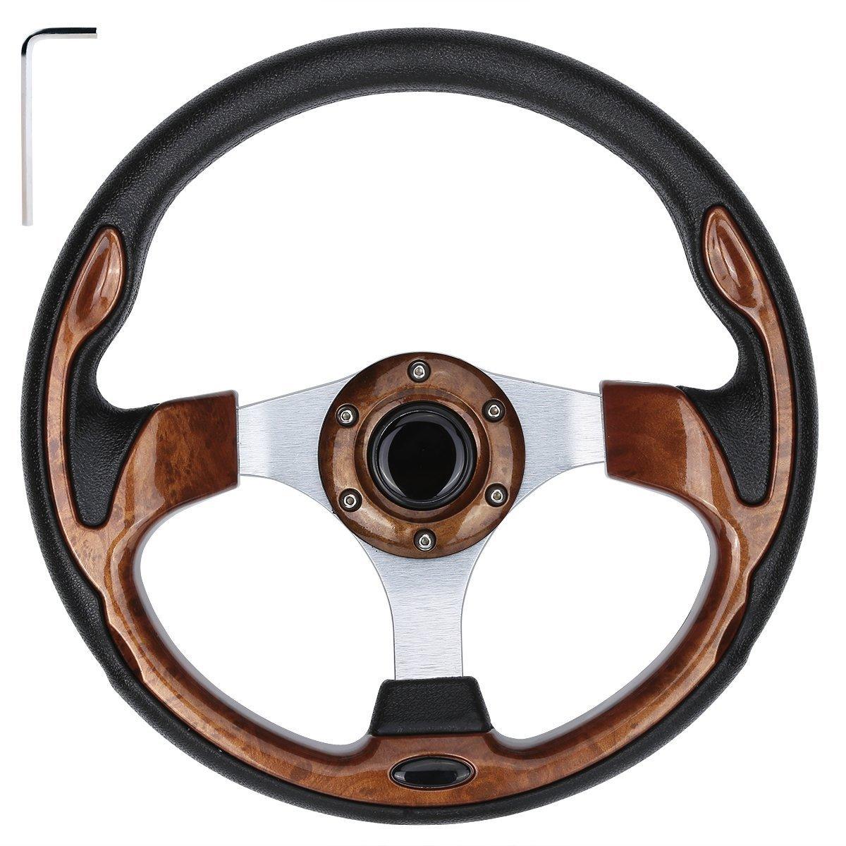 10L0L Golf Cart Steering Wheel, Generic of Most Golf cart EZGO Club Car Yamaha (style1 Wood)