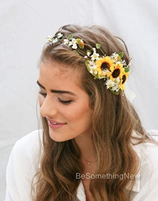 Sunflower Flower Crown with Green Leaves and Babies Breath, Flower Girl Wreath Wedding Headpiece Bridal Hair Accessory