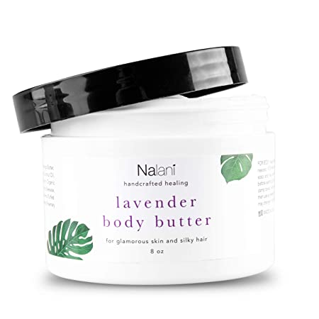 Lavender Shea Body Butter Cream Organic Skin Hair Care All-Natural Healthy Nourishing Anti-Aging Face Moisturizer For Men Women. Reduces Scar Stretch Mark Wrinkle Sun Spots. USA Made 8 Ounce