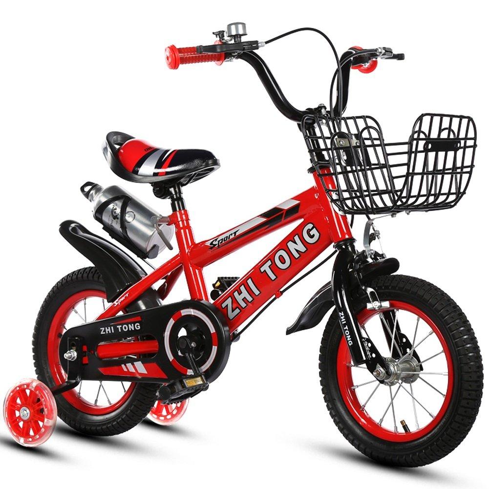 Mariny 子供用自転車子供用自転車2-3-5-6-8歳少年少女ベイビーキャリッジ12/14/16/18インチ(フラッシュトレーニングホイールとケトル付) (色 : 赤, サイズ さいず : 18