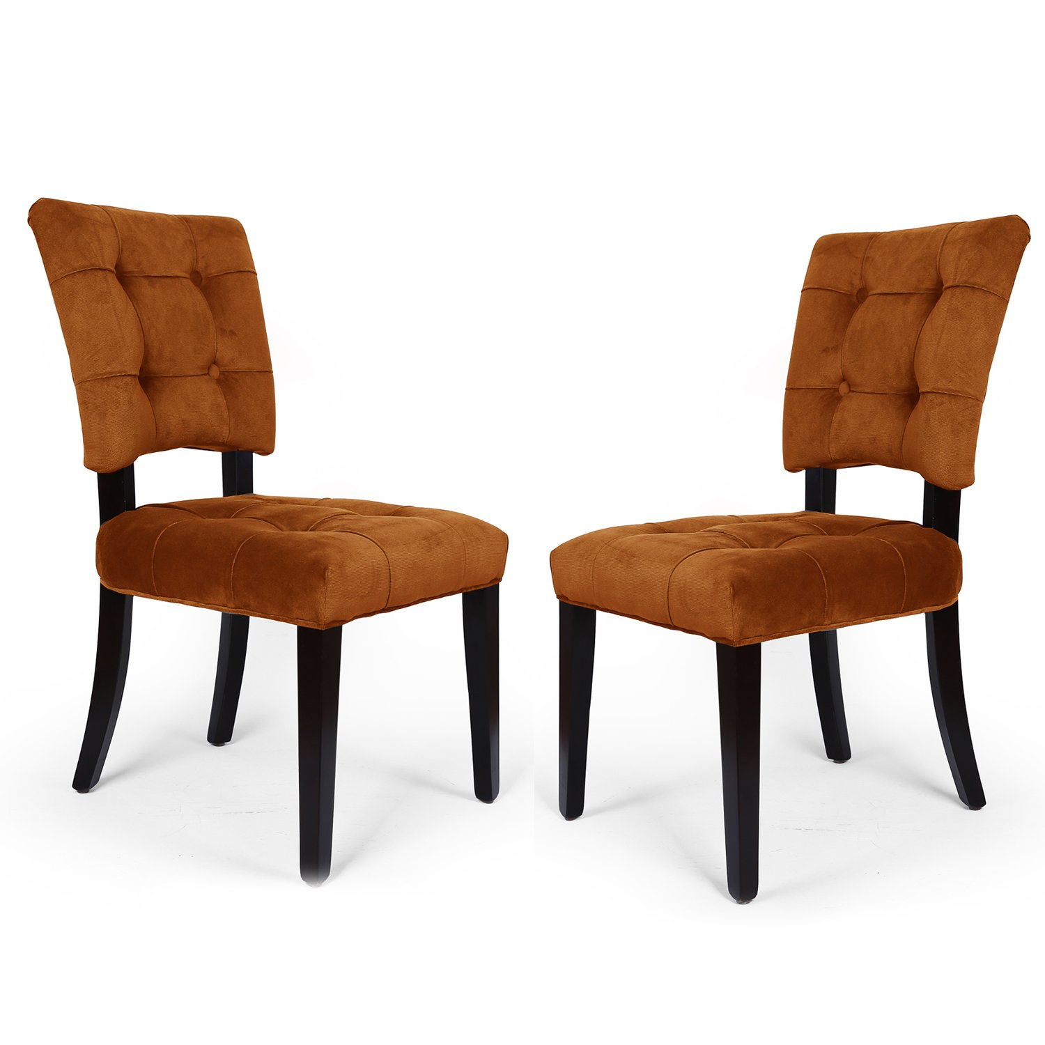 Dining Chair Set 2 Pair Accent Tufted Kitchen Modern Side: Adeco Side/ Dining Velvet Dining Chair With Solid Wood