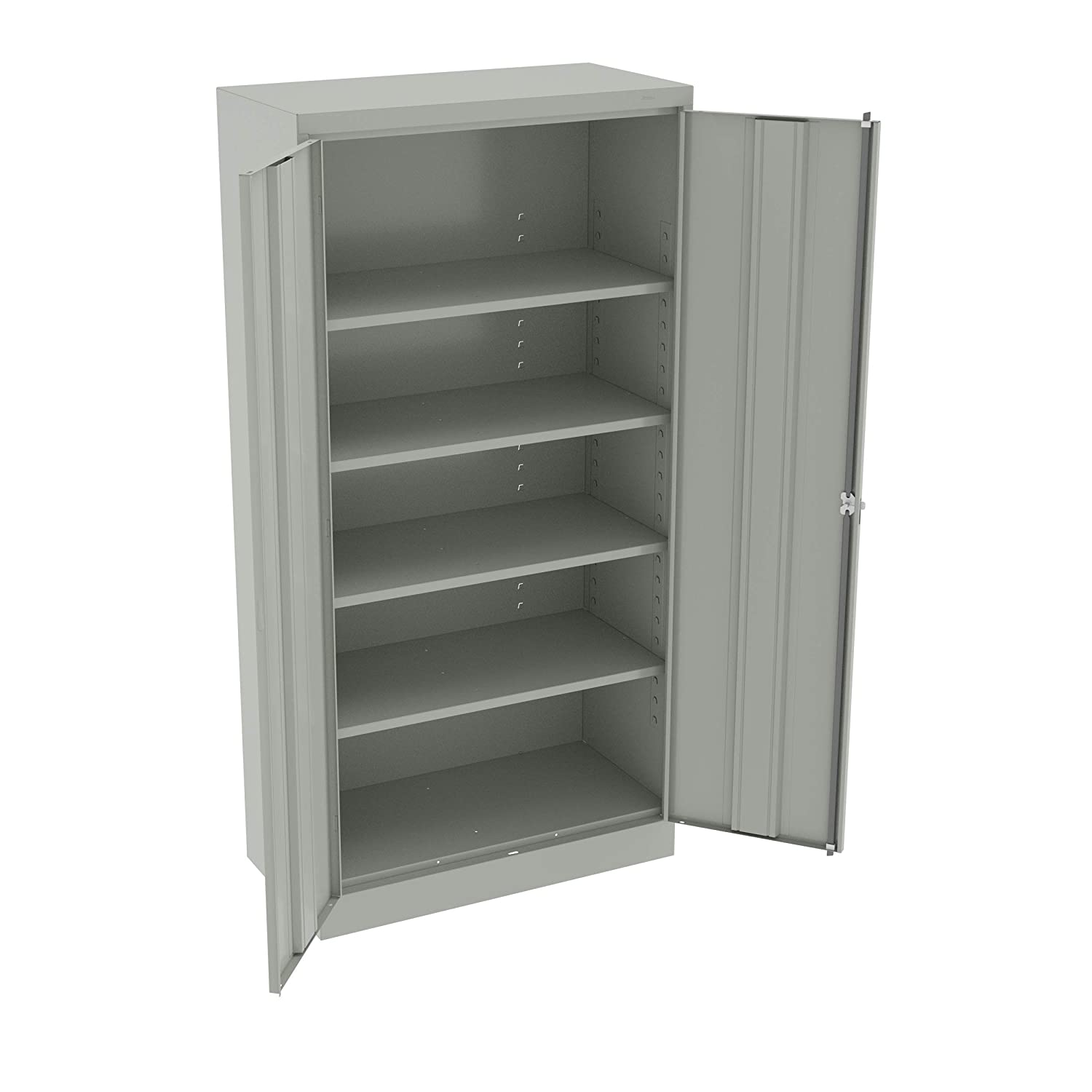 "Tennsco 7218-LGY 24 Gauge Steel Standard Welded Storage Cabinet, 4 Shelves, 150 lbs Capacity per Shelf, 36"" Width x 72"" Height x 18"" Depth, Light Grey"