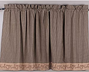 Primitive Home Decors Berry Vine Gingham 36 Inch Curtain Tiers - Black