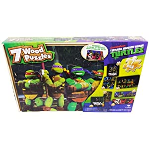 Gift Item Teenage Mutant Ninja Turtles Puzzles in Wood Box - 7 Puzzles Total