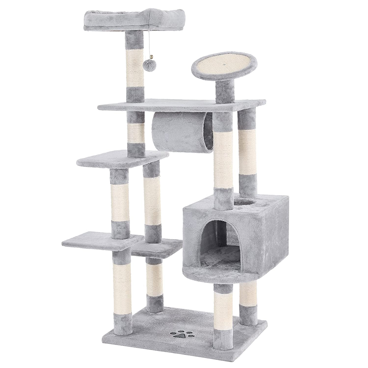 SONGMICS Large Cat Tree Condo Multi-level Cat Tower with Scratching Post Pad Kitten House Light Grey UPCT16H