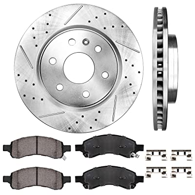 Callahan CDS02024 FRONT 325mm Premium D/S 6 Lug [2] Brake Rotors + [4] Ceramic Pads + Clips [fit Buick Chevy GMC Saturn]: Automotive