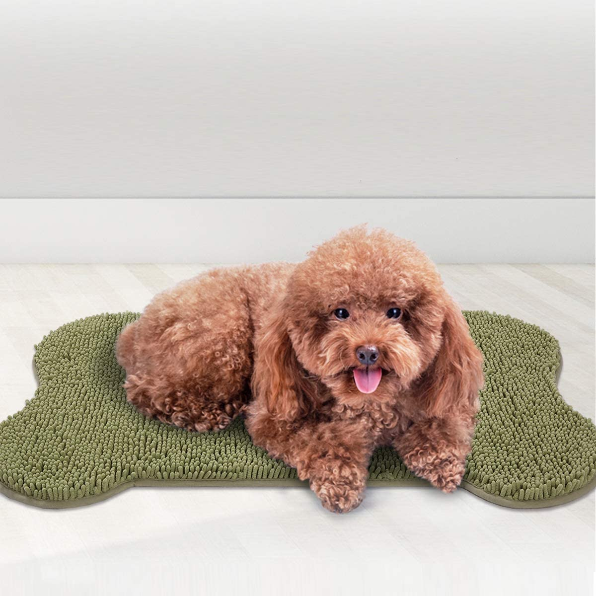 MAYSHINE Shaggy Pet Area Rug Dog Bone Shaped Mat Comfortable Dog Bed Machine-Washable Durable Absorb Mud and Dirt Keep Your House Clean 24X39 inch, Sage Green