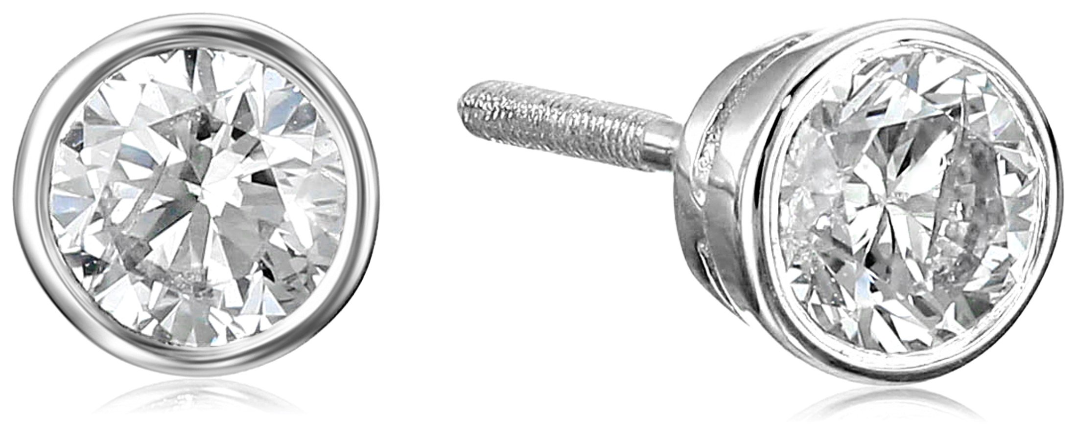 14k White Gold Bezel Set Diamond with Screw Post and Back Stud Earrings (1cttw, J-K Color, I1-I2 Clarity)