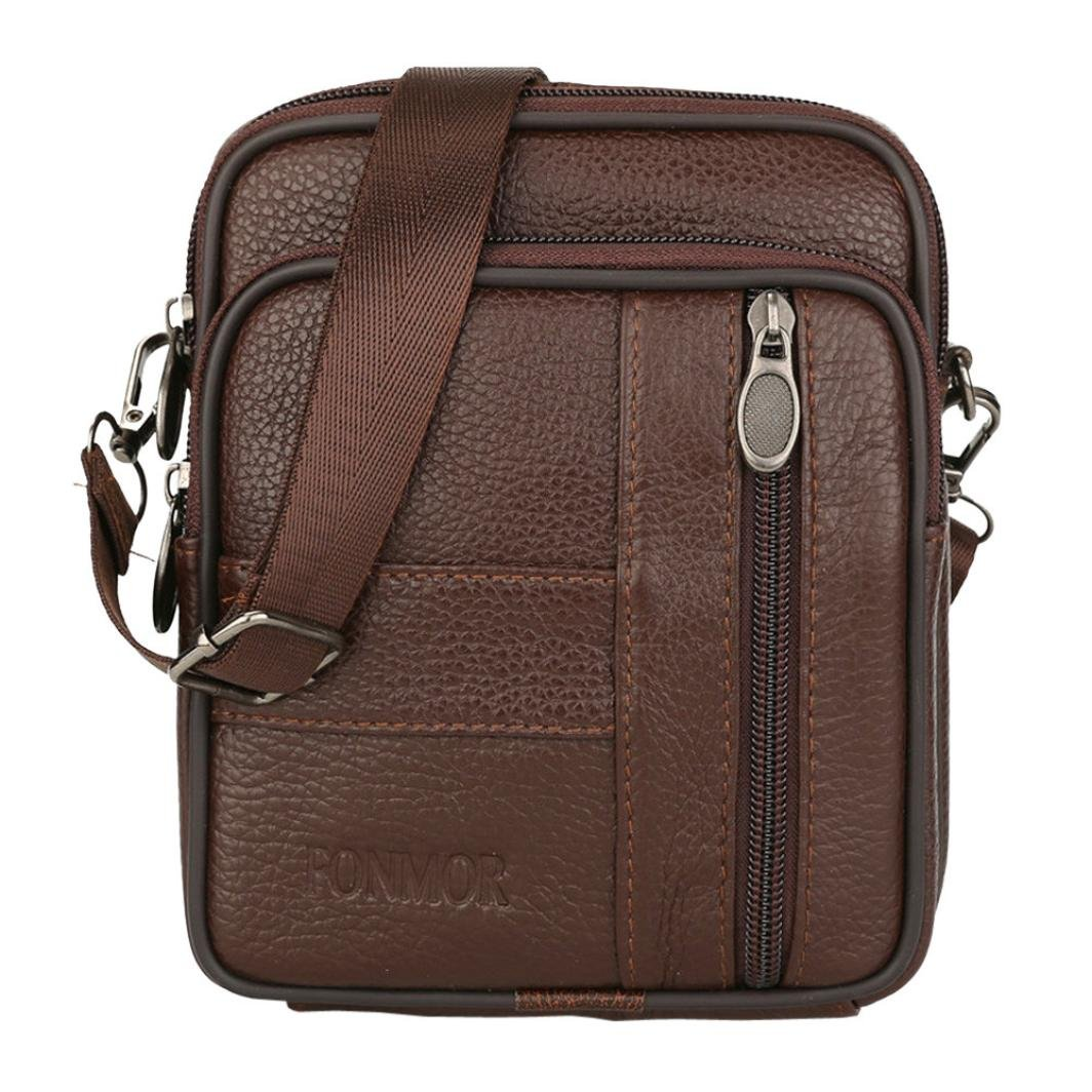 Messenger Bags, Men Vintage Small Leather Shoulder Crossbody Purse Casual Business (Brown) by Hechun (Image #1)