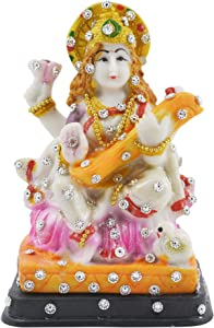 The Indie Quirk Handmade God Maa Saraswati Statue Idols Murti for Pooja Room, Gift Items, Car Dashboard, Decorative Showpiece