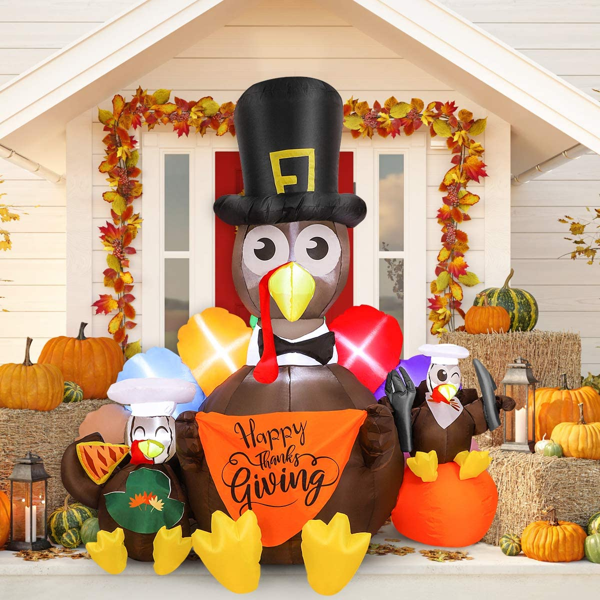 Inflatable Decoration, 6FT High Fall Yard Decoration with Turkeys Blow Up Turkey Decoration with Built-in Lights for Outdoor Yard Garden