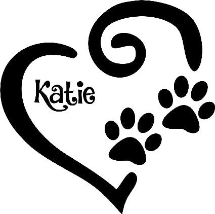08d5499ac147 Amazon.com: Tshirt Rocket Personalized Paw Prints Heart Decal - Dog Cat  Pawprints Vinyl Car Decal, Laptop Decal, Sticker (5