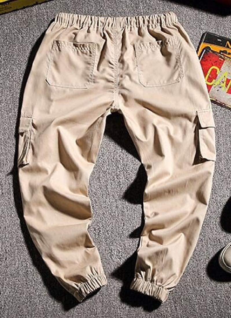 GRMO Men Loose Fit Casual Cotton Elastic Waist Solid Cargo Jogger Pants