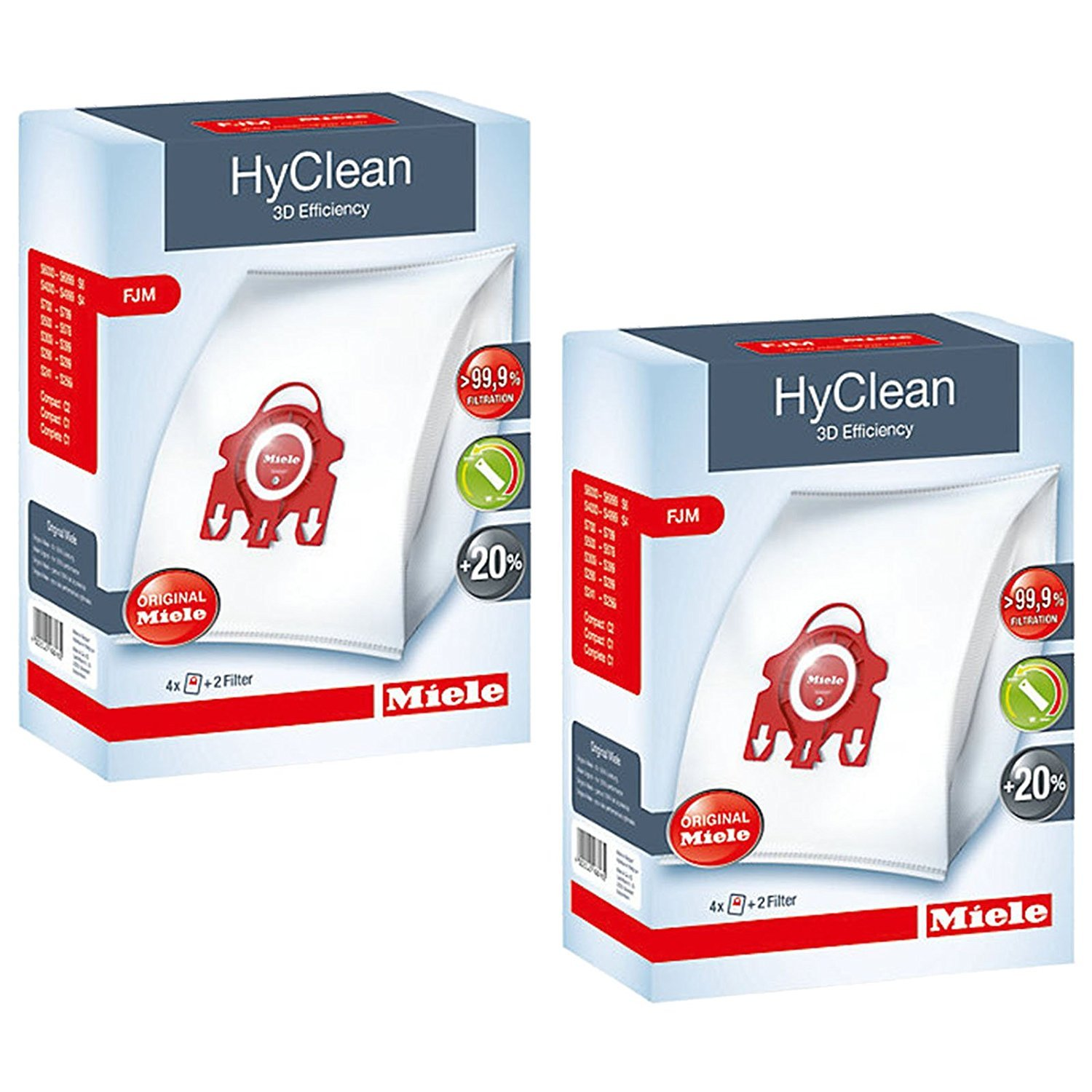 Miele HyClean 3D Efficiency Dust, Type FJM, 8 Bags & 4 Filters, Red by Miele