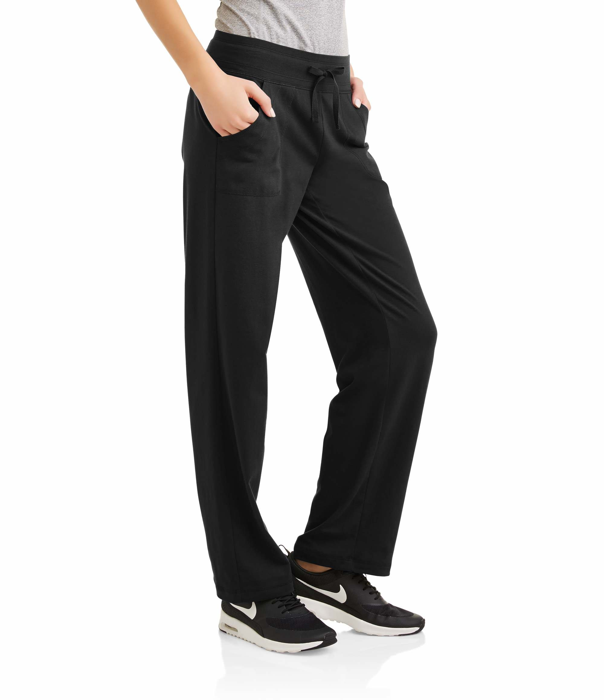 Athletic Works Women's Active Knit Pants Available In Regular and Petite (L, Black Soot)