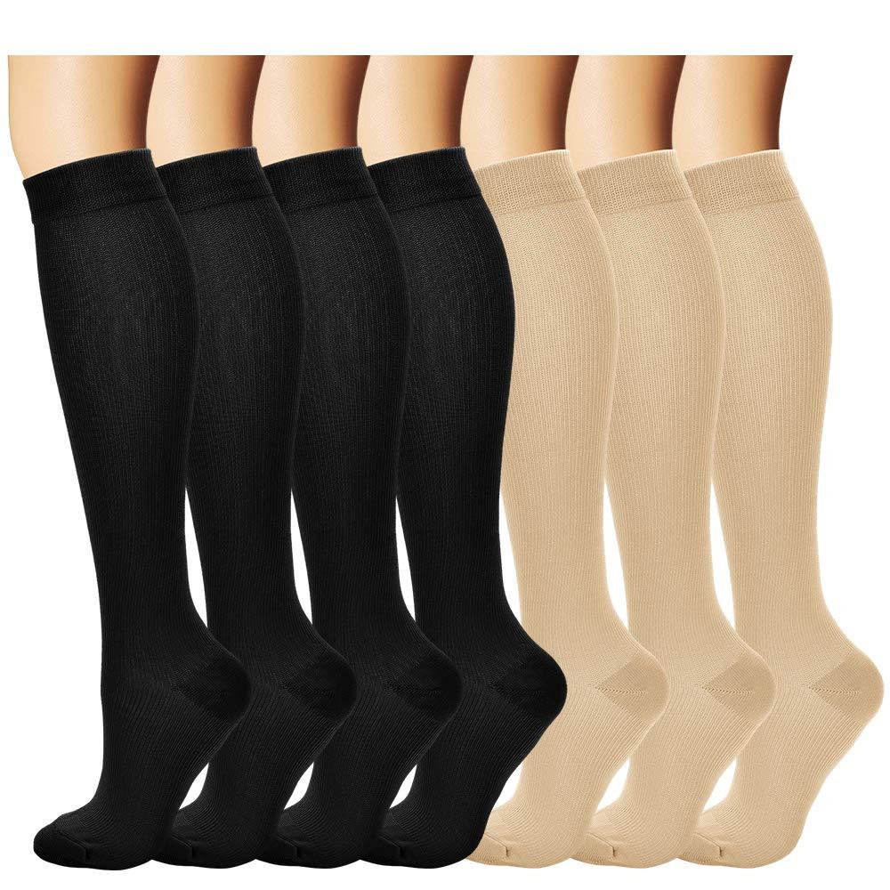 BLUEMAPLE Compression Socks,(7pair) for Women & Men - Best For Running, Athletic Sports, Crossfit, Flight Travel - Maternity Pregnancy, Shin Splints - Below Knee High(Assorted 2-S)