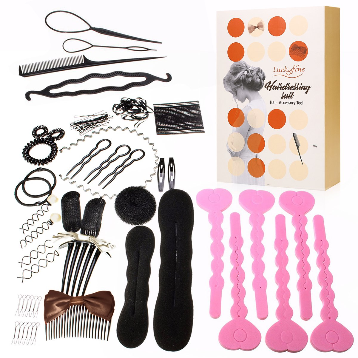 LuckyFine 26 Pcs Hair Styling Accessories Kit Set, Hair Design Styling Tools, Hair Braider Hair Design Kit Maker Pads Hairpins Clip Donut Tool Kit, Magic Hair Styling Accessories for Girls or Women by Y.F.M