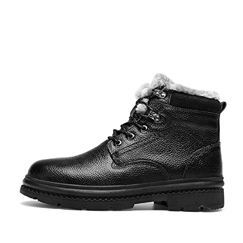 H-Mastery Botas Hombre Invierno Cuero Botines Nieve Piel Forradas Caliente: Amazon.es: Zapatos y complementos