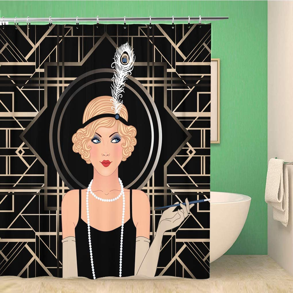 Amazon Com Rouihot 60x72 Inches Shower Curtain Flapper Girl Retro Party Invitation Design Gatsby Great Art Deco 1920s 20s Roaring Waterproof Polyester Fabric Bath Bathroom Curtain Set With Hooks Home Kitchen