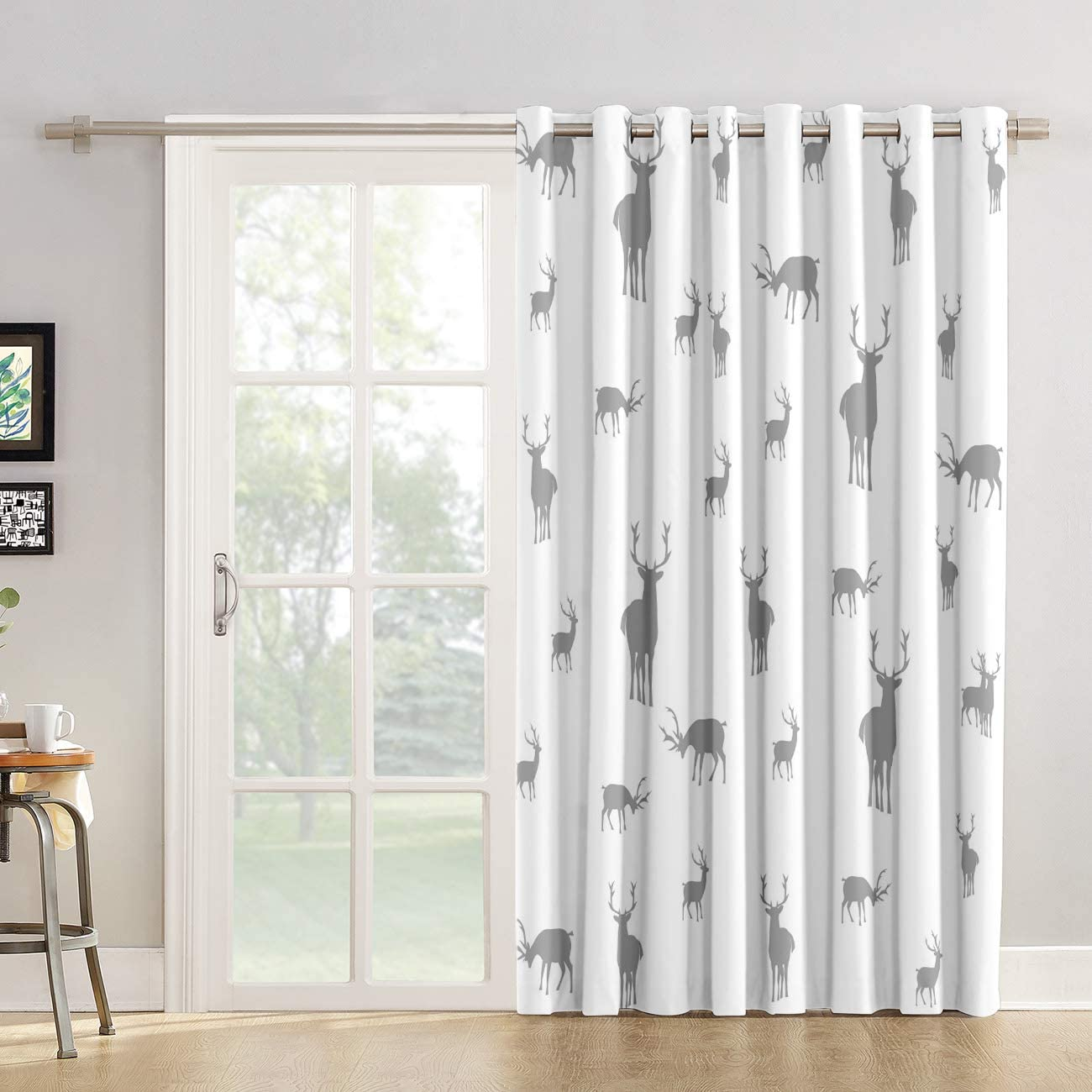 Kitchen Tier Curtains 90 inch Length Chic Window Drapes Panel for Living Room Bedroom Life Style Stag Elk in The Wild Grey and White Patterned Fabric Curtain for Sliding Glass Door Patio Door