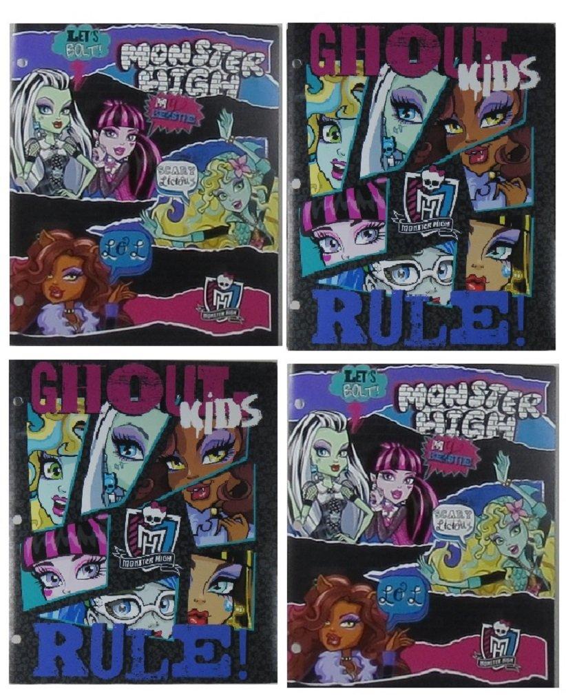 Monster High 4 Poly Plastic Portfolio Folder Set