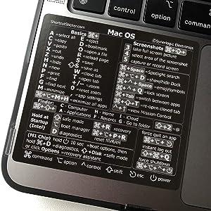 SYNERLOGIC (M1+Intel) Mac OS (Big Sur/Catalina/Mojave) Reference Keyboard Shortcut Sticker - Black Vinyl, No-Residue Adhesive, 3.25