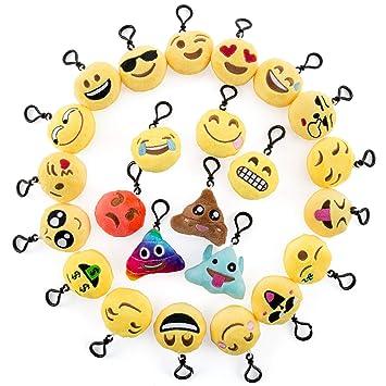 Comius Mini Emoji Llavero, Emoji Encantadora Almohada Almohadillas Emoticon Regalo de Relleno de Juguete para Regalos Fiestas Infantiles