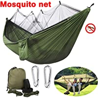 BSWEEII Double Camping Hammock with Mosquito Bug Net Zippers Outdoor 2 Person Hammock Tent Portable Backpack Hammocks for Kids Adults Lightweight Dry Quickly Nylon Parachute Hammock Tree Straps