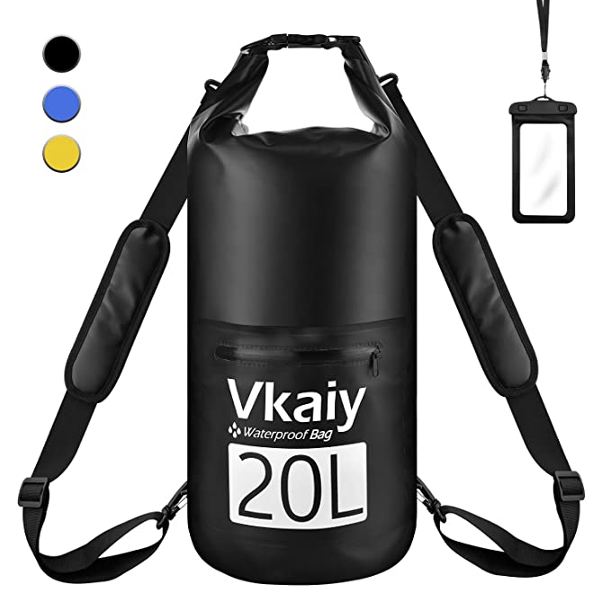 Vkaiy 20L Bolsa Seca Impermeable, Set de Bolsa Estanca con Funda Impermeable Táctil para Playa y Deportes al Aire, Rafting/Kayak ...