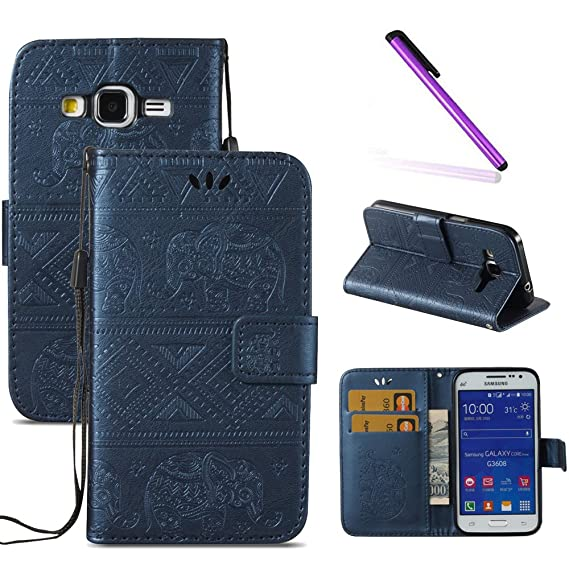 low priced 4e647 79096 G360 Case,Galaxy Core Prime Case,LEECOCO Fancy 3D Relief Embossed Wallet  Case with Card / Cash Slots [Kickstand] PU Leather Flip Case Cover for ...