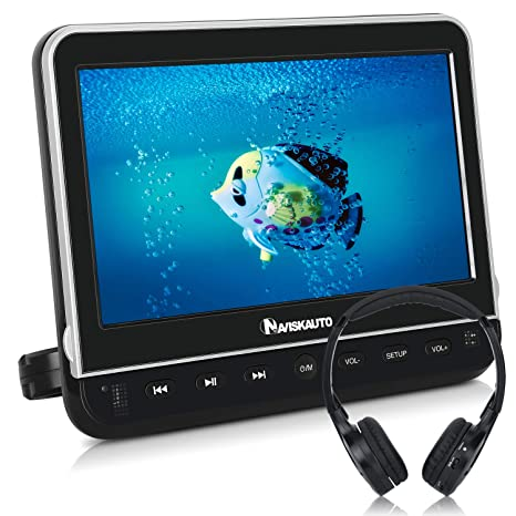 NAVISKAUTO DVD Player Monitor 10,1 Zoll Tragbarer DVD Player HD Decoding 1080P Kopfstütze Monitor HDMI FM IR SD USB 12V